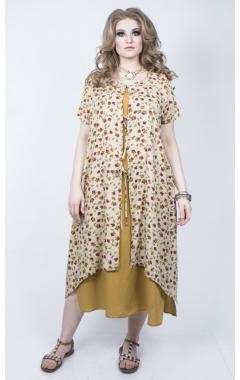 Платье Твин (горчица/ принт беж)