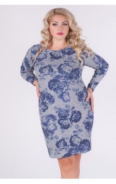 платье Долина (синий/розы)