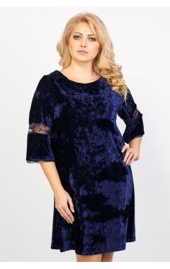 Платье Алла Велюр (тёмно-синий)