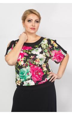 Блуза Шарм (цветы/зеленый)