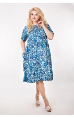 Платье Сити (синий/принт)