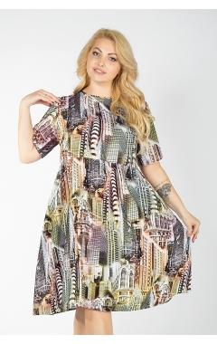 Платье Сити (принт/зел/оливк)