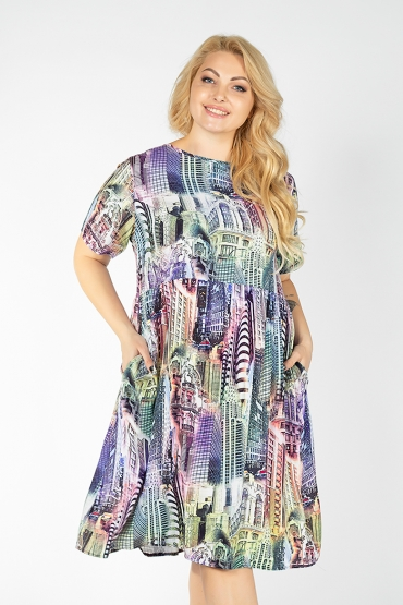 платье Сити (зелено-фиолетовый)