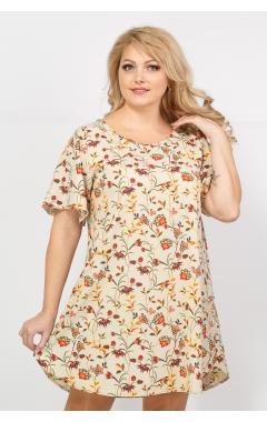 Платье Долорес (бежевый/принт)