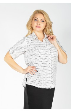 Рубашка Есения (белый/чёрный горох)