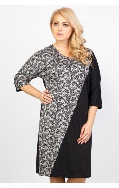 Платье Геометрия (чёрный/серый принт)