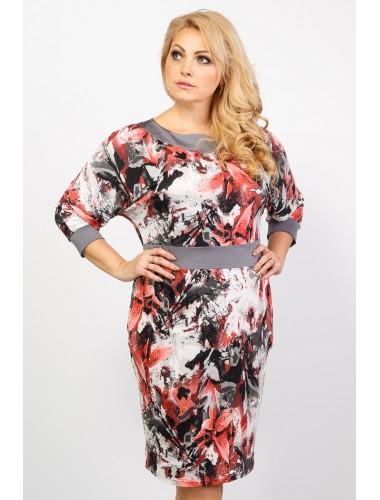 платье Индира (серый/принт)