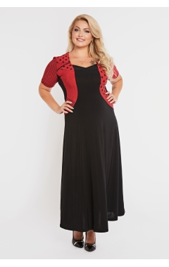 платье Каролина (черный/красный вишня)