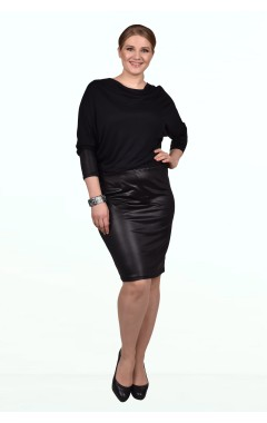 Платье Кэт (чёрный/кожа)