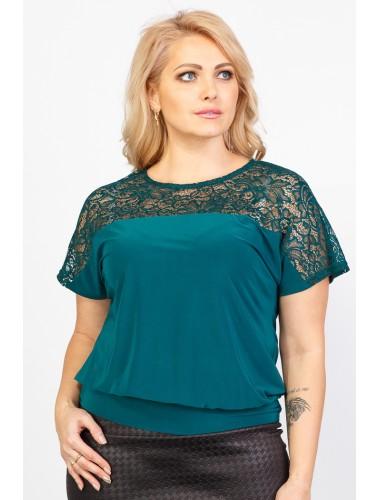 """Блуза """"Кружево"""" (тёмно-зелёный)"""