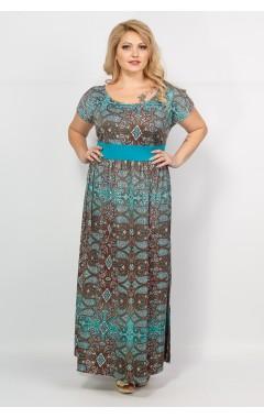 Платье Лана (корич/бирюза/принт)