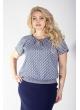 Блуза Леся (принт/бежевый/синий)