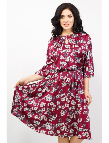 Платье Марго (цветы/бордо)