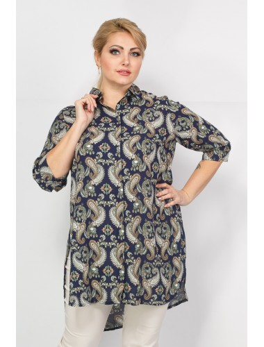 Блуза Прима (синий/принт огурцы)