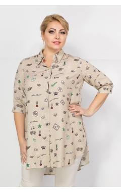 Блуза Прима (бежевый/принт)