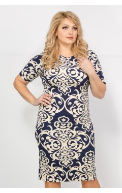 Платье Рим (синий/бежевый)