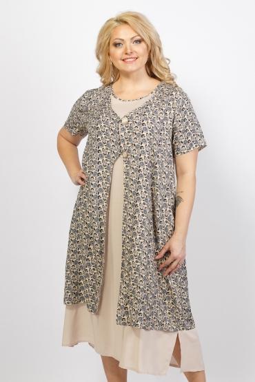 платье Сардиния (бежевый/принт)