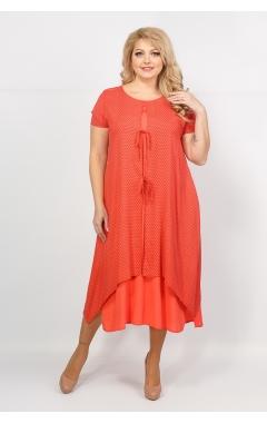 Платье Твинго (коралл/ горох)