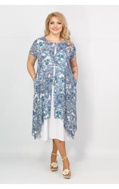 Платье Твинго (белый/принт электрик)