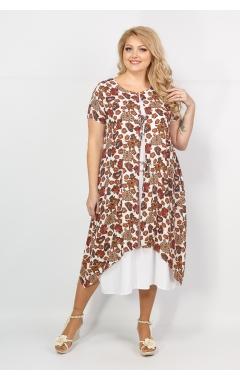 Платье Твинго (белый/принт горчица)