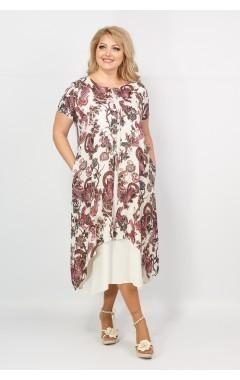 Платье Твинго (бежевый/принт совы)