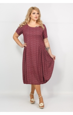Платье Веста (принт бордо)