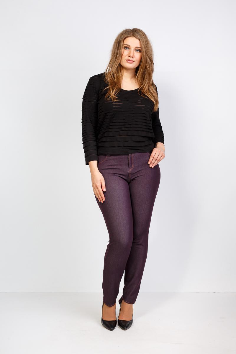 цветные базовые брюки для полных женщин