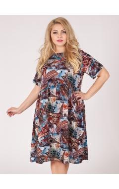 платье Сити (принт/коричневый)