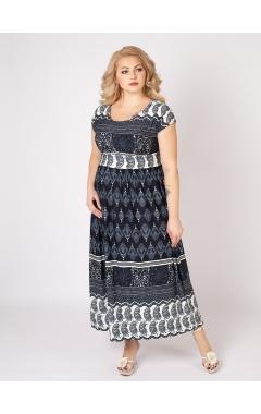 платье Лана (синий/принт огурцы)