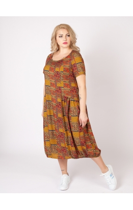платье Агата2 (принт/оранжево-серый)