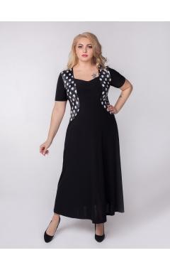 платье Каролина (черный/белый горох)