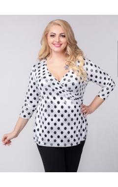 блуза Виолетта (белый/черный горох)