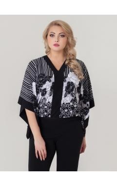 блуза Анкара (черный/принт розы)