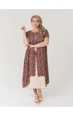 платье Твин2 (бежевый/бордо/цветы)