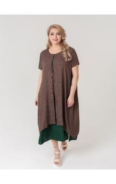 платье Твин2 (зелёный/принт)