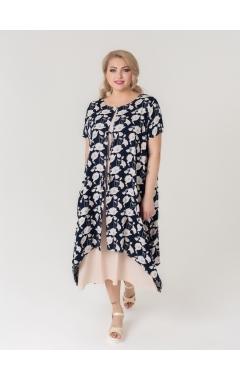платье Твин2 (бежевый/тёмно-синий)