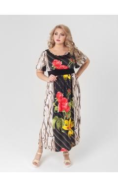 платье Тиволи (чёрный/красные цветы)