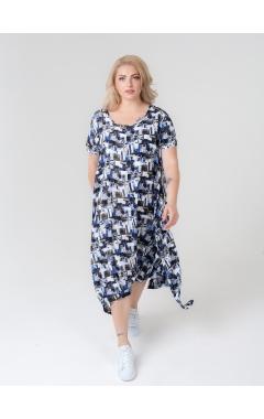 платье Асти (серо-голубой принт)