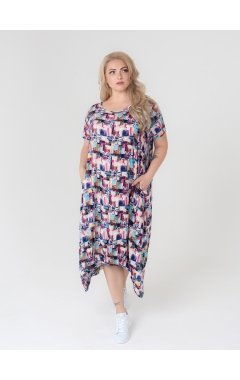 платье Асти (розовый/голубой)