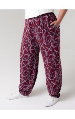 брюки Алсу (бордо/принт цепи)