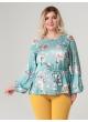 блуза Рина (бирюза/цветочный принт)