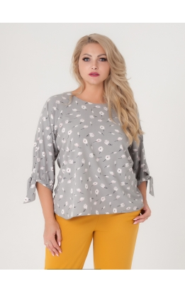 блуза Дороти (серый/цветы)