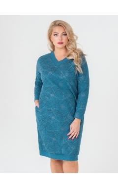 платье Ариша (бирюза/принт/штрихи)