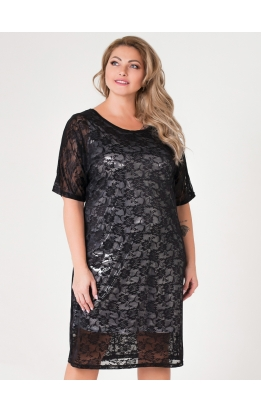 платье Саманта (сильвер/чёрный)