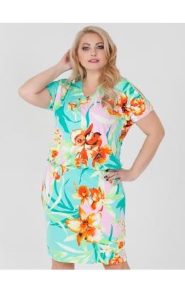платье Ульяна (цветы/мята)