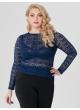 блуза Иванка (тёмно-синий/кружево)