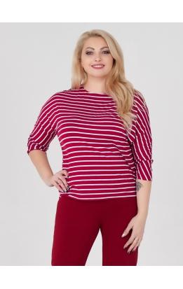 Блуза Дженни Пол (полоска красная/белая узкая)