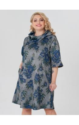 платье Берта2 (серый/принт цветы)