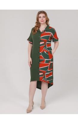 платье Элли (зеленый/оранж)
