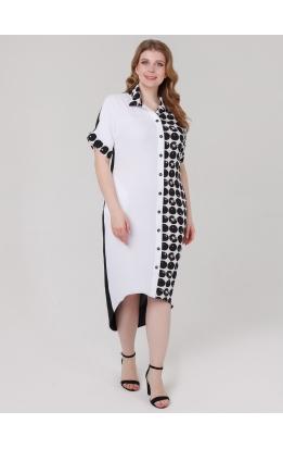 платье ЭллиБлэк (белый/горох)